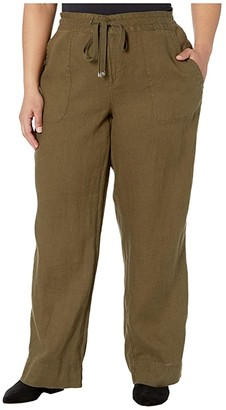 Lauren Ralph Lauren Plus Size Linen Wide-Leg Pants (Dark Sage) Women's Casual Pants