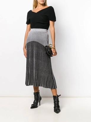 Balmain Ribbed Knit Skirt Black