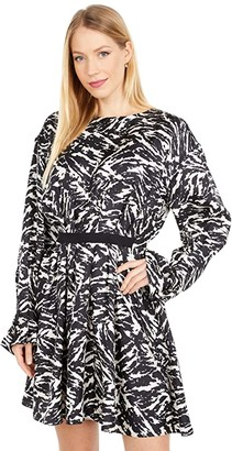 Jason Wu Long Sleeve Crew Neck Zebra Print Dress (Black/Porcelain) Women's Clothing