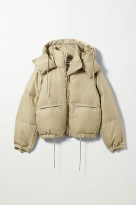 Weekday Hanna Short Puffer Jacket - Beige