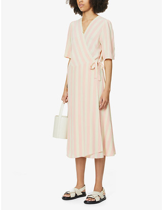 Won Hundred Stella striped woven midi wrap dress