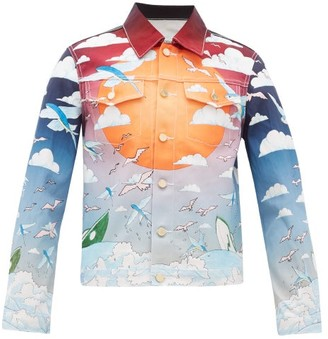 Casablanca - Speed Boat Club Cotton-denim Jacket - Mens - Blue Multi