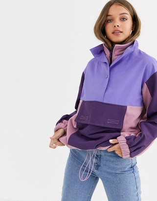 Asos DESIGN blocked fleece jacket with nylon patching