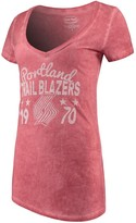 Majestic Women's Threads Red Portland Trail Blazers City Over Pop Premium V-Neck T-Shirt