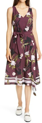 Ted Baker Alyan Elderflower Print Asymmetrical Dress