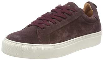 Selected Women's Slfdonna Suede Trainer B Low-Top Sneakers, Brown Decadent Chocolate