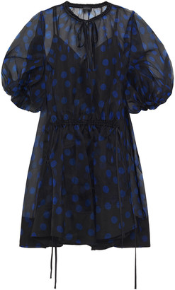 Lee Mathews Rayne Gathered Polka-dot Silk-organza Mini Dress