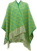 Gucci GG-jacquard Striped Wool-blend Poncho - Womens - Green