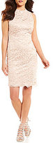 Vince Camuto Sleeveless Mock Neck Lace Sheath Dress