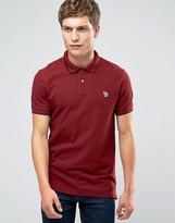 Paul Smith PS by Polo Shirt With Zebra Logo In Slim Fit Red