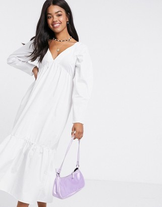 ASOS DESIGN cotton babydoll midi dress with pephem in white