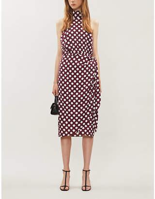 KITRI Constance high-neck polka dot crepe wrap dress
