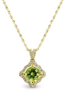 "Macy's Peridot (1 ct. t.w.) & Diamond (1/8 ct. t.w.) 18"" Pendant Necklace in 14k Gold"