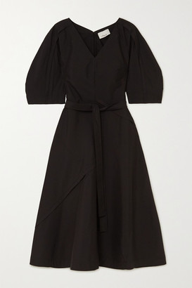 3.1 Phillip Lim Belted Cotton-blend Poplin Midi Dress - Black