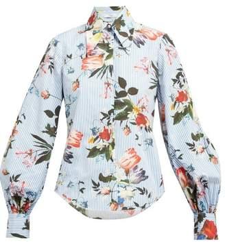 Erdem Eula Isabelle-print Cotton Shirt - Womens - Blue Print