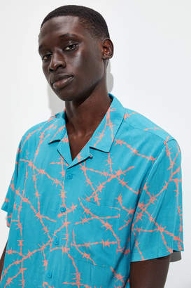Urban Outfitters Barbed Wire Rayon Short Sleeve Button-Down Shirt