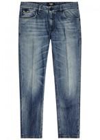 Fendi Blue Embroidered Slim-leg Jeans