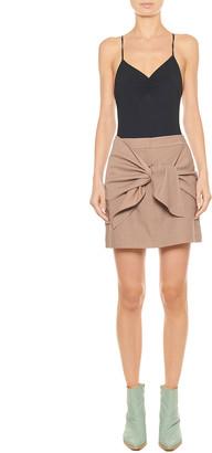 Tibi Linen-Viscose Suiting Tie-Front Short Skirt