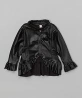 Mulberribush Black Faux Leather Ruffle Jacket - Girls