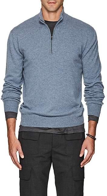 Barneys New York Men's Cashmere Quarter-Zip Sweater - Md. Blue