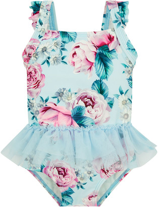 Monsoon Baby Floral Skirted Swimsuit Blue