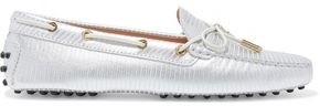 Tod's Heaven Bow-detailed Metallic Textured-leather Loafers