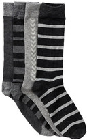 Lucky Brand Texture Stripe Crew Socks - Pack of 4