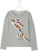Kenzo animal print logo long-sleeved T-shirt