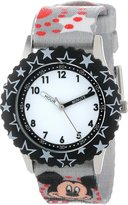 Disney Kids' W000287 Mickey Mouse Stainless Steel Time Teacher Black Bezel Printed Strap Watch