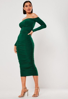 Missguided Dark Green Bardot Slinky Ruched Bodycon Midaxi Dress