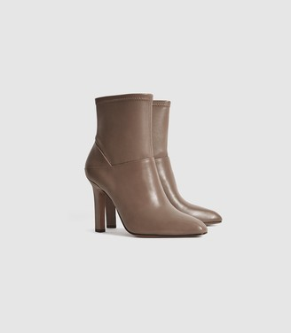 Reiss Carrie - Leather Ankle Boots in Taupe