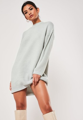 Missguided Petite Grey High Neck Knitted Ribbed Dress