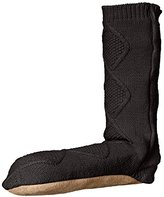 Carole Hochman Women's Cable Slouch Slipper Sock with suede Bottom Flat