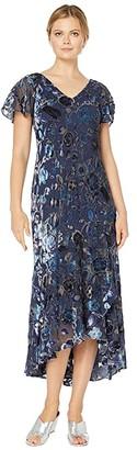 Alex Evenings Long Velvet Burnout Dress with High-Low Hem Detail (Navy/Multi) Women's Dress