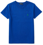 Ralph Lauren Cotton Jersey V-Neck Tee, Blue, Size 2-4