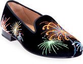 N. Stubbs And Wootton Fireworks Embroidered Velvet Smoking Loafers
