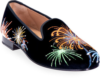 Stubbs and Wootton Fireworks Embroidered Velvet Smoking Loafers