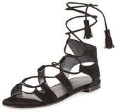 Stuart Weitzman Romanflat Suede Flat Gladiator Sandal, Black