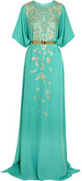 Oscar de la Renta Embroidered Silk-crepe Gown - Turquoise