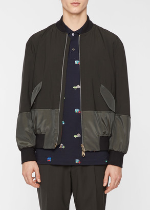 Paul Smith Men's Dark Olive Technical Wool-Blend Bomber Jacket