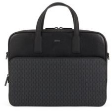 BOSS Document case in monogram-print fabric and embossed leather