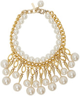 Junya Watanabe Gold and Off-White flake Edition Pearl Stud Necklace