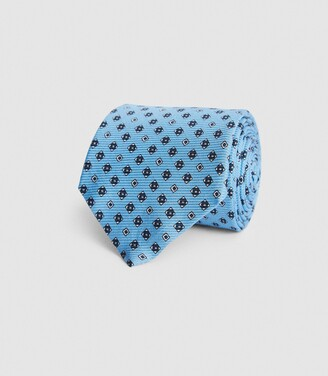 Reiss Trento - Silk Medallion Tie in Soft Blue