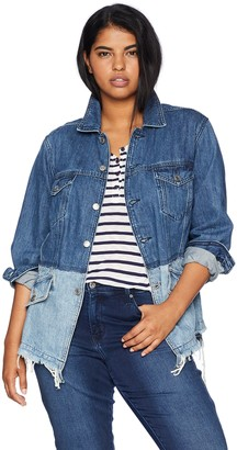 Lucky Brand Women's Plus Size Pieced Waisted Trucker Jacket