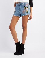Charlotte Russe Patches Cut-Off Denim Shorts