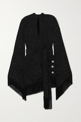 Balmain Belted Fringed Crystal-embellished Crepe Mini Dress - Black