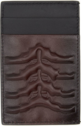 Alexander McQueen Burgundy and Black Rib Cage Card Holder