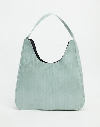 ASOS DESIGN oversized tote bag in green lizard