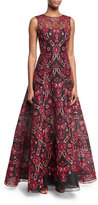 Oscar de la Renta Embroidered Tulle Overlay Ball Gown, Black Pattern