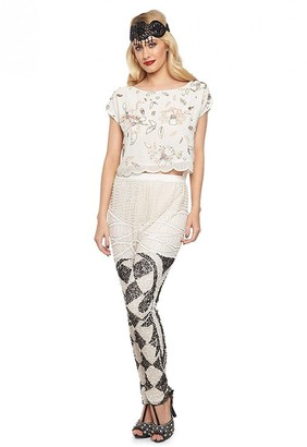 Gatsbylady London Flora Embellished Flapper Top in White